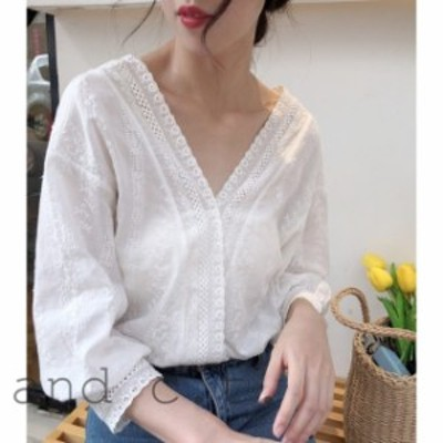 ゆったりランタンスリープ  トップス 春夏 白いシャツ 襟のレース きれいめ 大きなVネック シャツ 韓国