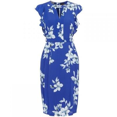 フェイズ エイト Phase Eight レディース ワンピース ワンピース・ドレス Olive Floral Frill Sleeve Dress BLUE