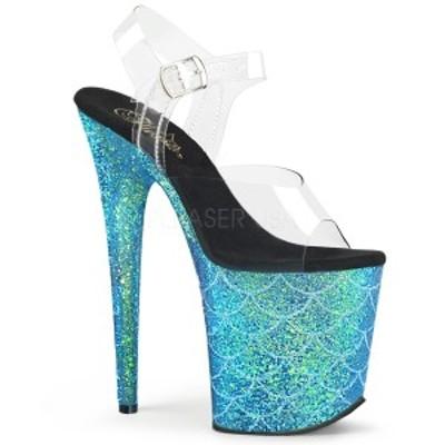 サンダル Pleaser プリーザー FLAMINGO-808MSLG Clr/Aqua Multi Glitter クリアー フィルム マーメイド 超レディース 靴 お取り寄せ商品