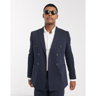 ジャック アンド ジョーンズ メンズ ジャケット&ブルゾン アウター Jack & Jones Premium slim fit double breasted suit jacket in navy Dark navy