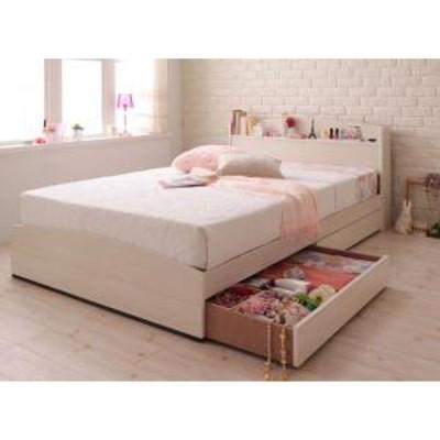 フレンチカントリーデザインのコンセント付き収納ベッド Bonheur ボヌール スタンダードボンネルコイルマットレス付き シングル