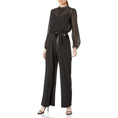 Adrianna Papell レディース ニット クレープ&シフォン ジャンプスーツ US サイズ: 2 カラー: ブラック