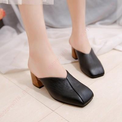 スクエアトゥ サンダル サボ ミュール ファッション シンプル レディース 黒 キレイめ 美脚 シンプル 無地 安定感 チャンキーヒール 6.5cm  オフィスサンダル