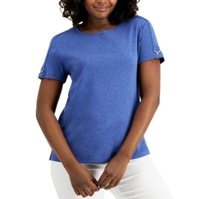 ケレンスコット カットソー トップス レディース Cotton Buckle-Sleeve Top, Created for Macy's Galaxy Blue Heather