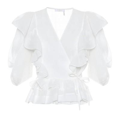 クロエ Chloe レディース ブラウス・シャツ トップス ruffled ramie wrap blouse Iconic Milk