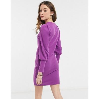 エイソス ASOS DESIGN レディース ワンピース ミニ丈 ワンピース・ドレス Asos Design Super Soft Puff Sleeve Mini Dress In Violet バイオレット