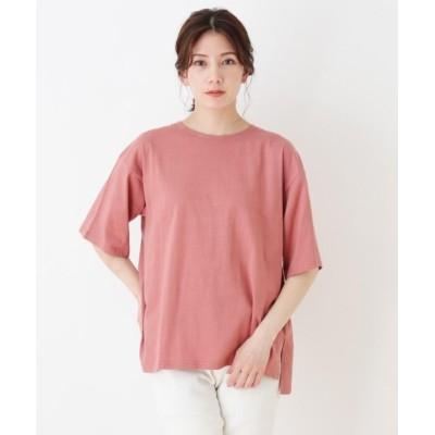 (SHOO・LA・RUE/シューラルー)ドロップショルダーグラフィックTシャツ/レディース ピンク×バックプリント(672)
