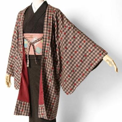 長羽織 刺しゅう チェック ベージュ ブラウン 赤 えんじ 花 ウール 羽織 レディース コート 着物 刺繍 モダン