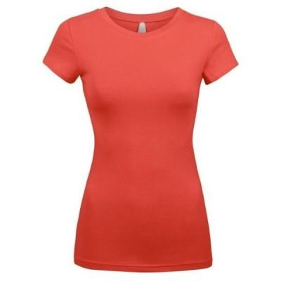 レディース 衣類 トップス Kaylee_xo Sexy Women's Low-Cut Basic Round Neck Short Sleeve Fitted Tee Shirt Top ブラウス&シャツ