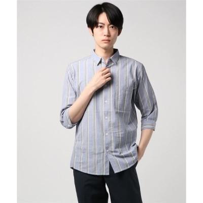 シャツ ブラウス 【BLUE STANDARD】強撚コットン7分袖シャツ