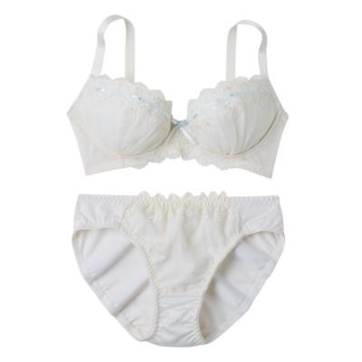 パステルリボン通し ブラジャー。ショーツセット(D75/M) (ブラジャー&ショーツセット)Bras & Panties