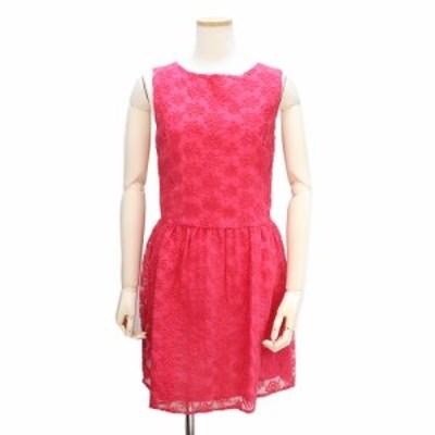 (中古)マドモアゼルアール オーガンジー 刺繍ワンピース 38 ピンク