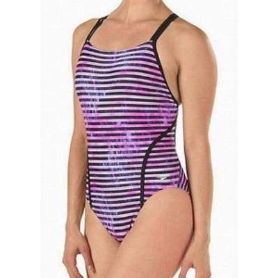 speedo スピード スポーツ用品 スイミング Speedo Womens Swimwear Pink Black Size 8 Striped Volt One-Piece