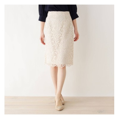 【インデックス/index】 【洗える・42(LL)WEB限定サイズ】ボタニカルレースタイトスカート