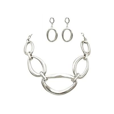 【新品】ローズマリー・コレクションWomen 's Contemporary幾何リンクよだれかけネックレスとイヤリングセット シルバー