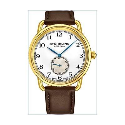 Stuhrling Original Classic Dress Wrist Watch for Men, Swiss Analog Stainless Steel Quartz Wristwatch with Genuine Leather Strap (Brown/Gold)並行輸