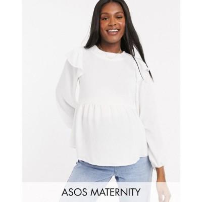 エイソス ASOS Maternity レディース ブラウス・シャツ マタニティウェア Asos Design Maternity Long Sleeve Top With Ruffle Detail In Ivory アイボリー