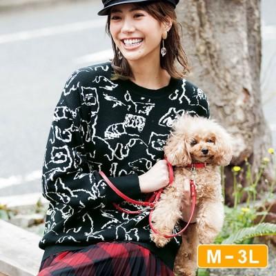 Ranan 【M~3L】ジャカード柄ニット ブラック M レディース