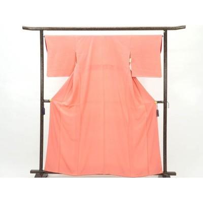 リサイクル着物 小紋 正絹ピンク地突彫り袷江戸小紋着物
