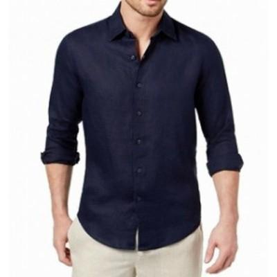 ファッション アウター Tasso Elba NEW Blue Navy Men Size L 18 1/2 Linen Button Down Shirt