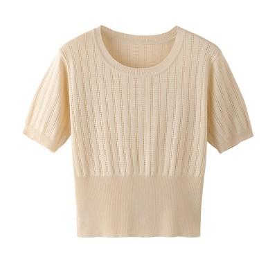 ✨超人気インスタグラムで話題 韓国ファッション ハイウエスト 半袖 Tシャツ 短いスタイル 2020 新作 透かし彫り スリムフィット 薄い アイスシルク ニット トップス 夏