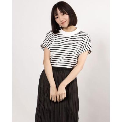 ジーラ GeeRA 綿100%プチハイネックTシャツ (白系ボーダー)