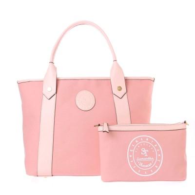 サマンサタバサ キャンバストートバッグ大 ピンク
