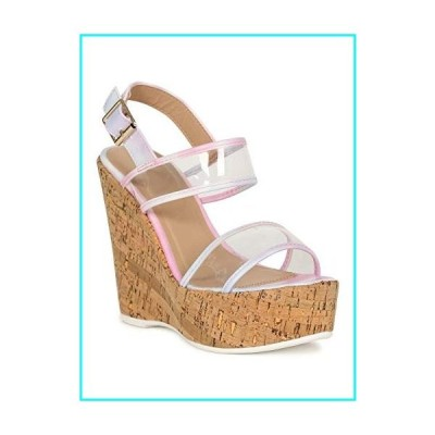 Qupid Open Toe Clear Dual Straps Cork Platform Wedge 19968 - Pink Blue Tie Leatherette (Size: 9.0)