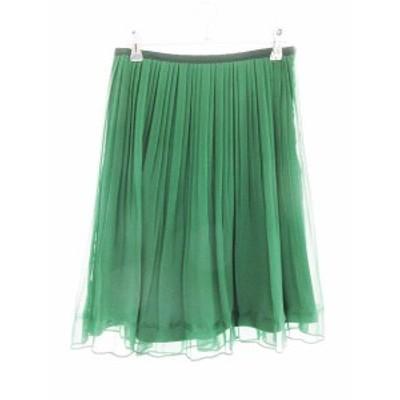 【中古】アンタイトル UNTITLED スカート フレア ひざ丈 ライン 2 緑 グリーン /CK レディース