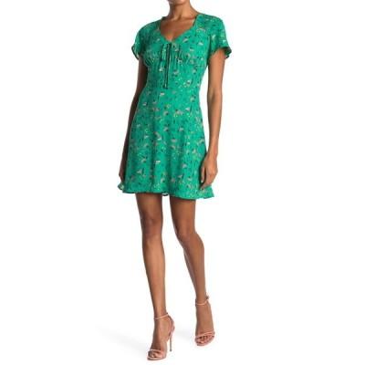 コレクティブコンセプツ レディース ワンピース トップス Tie Front Short Sleeve Dress GREEN FLORAL