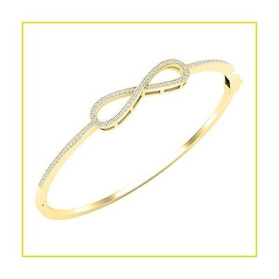 【新品 送料無料】Dazzlingrock Collection 0.35 Carat (ctw) Round White Diamond Ladies Infinity Love Bangle Bracelet 1/3 CT, 14K Yello