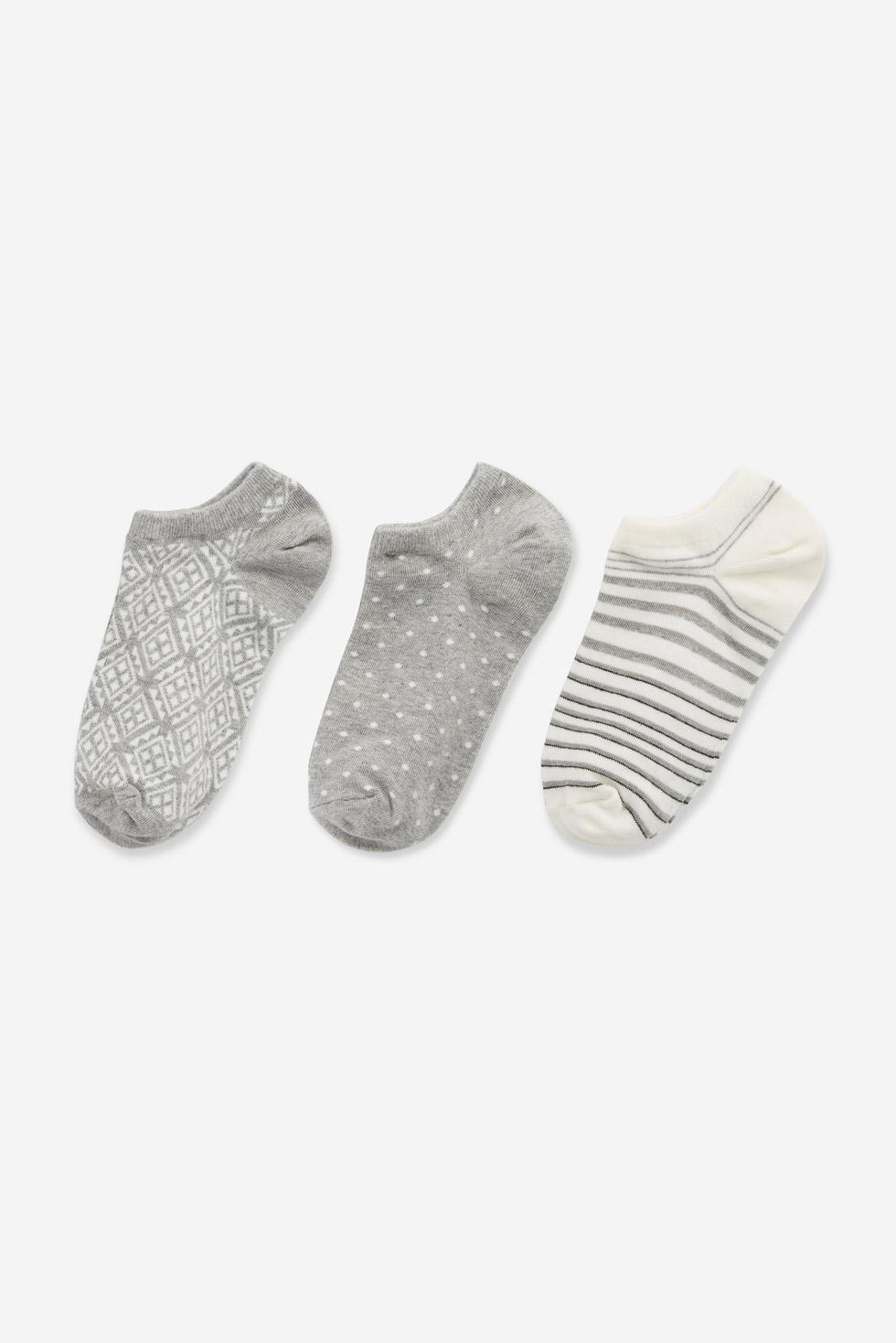 (三入組)日常隨筆.舒棉船型襪(幾何/點點/灰白條)