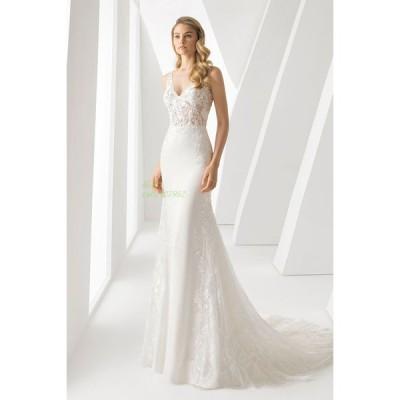 マーメイドライン ウエディングドレス Vネック パーティドレス レディース ロングドレス 結婚式 披露宴 ドレス マーメイドライン レース 二次会ドレス