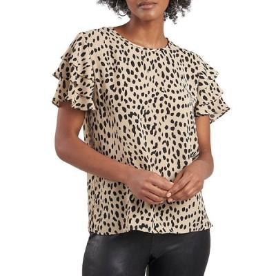 ヴィンスカムート レディース シャツ トップス Tiered Short Sleeve Leopard Print Blouse