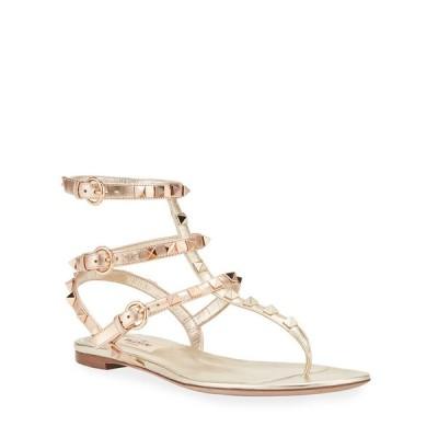 ヴァレンティノ レディース サンダル シューズ Rockstud Flat Metallic Gladiator Sandals