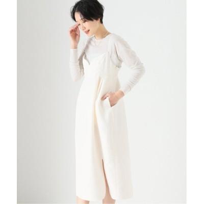 (VERMEIL par iena/ヴェルメイユ パー イエナ)キルティング風ジャガードジャンプドレス◆/レディース ホワイト