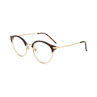 Firmoo ブルーライトカット メガネ 度なし pcメガネ ブルーライトカット 丸メガネ 伊達眼鏡 おしゃれ ブルーカットメガネ (亀の色)