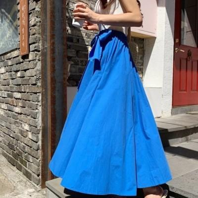 ウェストリボンが可愛いロング丈スカート 無地 大人可愛い 体系カバー Aライン フレア ロング&マキシ 夏 お出かけに