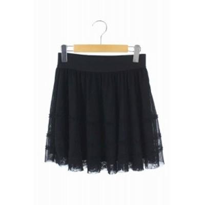 【中古】シンシアローリー CYNTHIA ROWLEY スカート フレア ミニ チュール 2 黒 /HK レディース