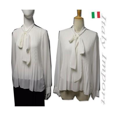 イタリア製 ボウタイ リボン ブラウス シャツ ホワイト