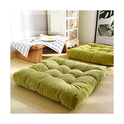 HIGOGOGO 無地正方形シ-トクッション タフテッド厚手枕シ-ト ソフトコ-デュロイチェアパッド 畳床クッション ヨガ 瞑想 リビングル-ム バル