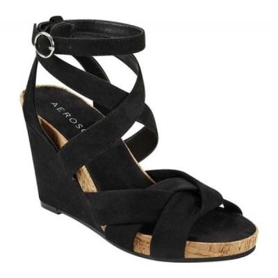 エアロソールズ Aerosoles レディース サンダル・ミュール ウェッジソール シューズ・靴 Phoenix Strappy Wedge Sandal Black Faux/Microfiber