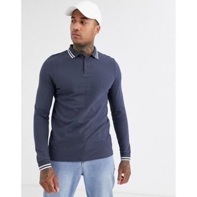 エイソス ASOS DESIGN メンズ ポロシャツ トップス Long Sleeve Tipped Pique Polo Shirt In Grey アスファルト