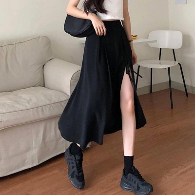 スカート 不規則デザイン ハイスリット 無地 ハイウエスト ファッション シンプル カジュアル 膝下丈 韓国 スタイル 6817