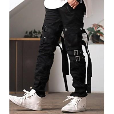 【ラグスタイル】 ベルトデザインカーゴパンツ/カーゴパンツ メンズ ベルト サイドポケット ワークパンツ メンズ ブラック XL LUXSTYLE