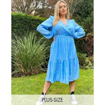 ヴェロモーダ Vero Moda レディース ワンピース ラップドレス ミドル丈 ワンピース・ドレス curve midi wrap dress in blue ブルー