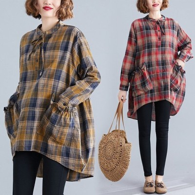 チェックシャツ レディース 長袖シャツ ゆったり オシャレ トップス 綿麻混ワンピース 程良く余裕があって着やすいサイズ感