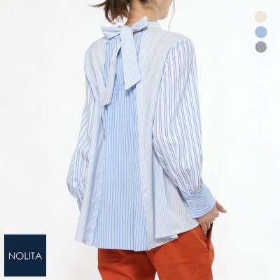 MyLanka ミランカ バックリボンデザインブラウス ベージュ/ブルー/ネイビー 38 9号 レディース/ファスサンファール/シャツ/デザインシャツ/柄ブラウス