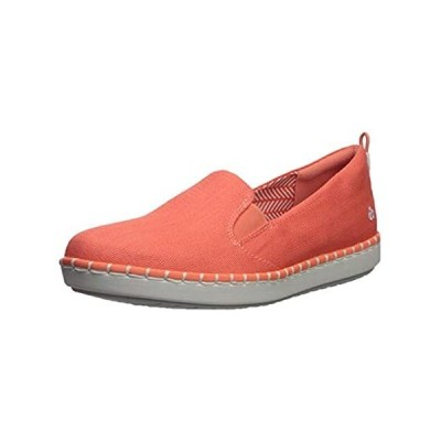 Clarks Women's Step Glow Slip Loafer Flat, Coral Canvas, 110 M US