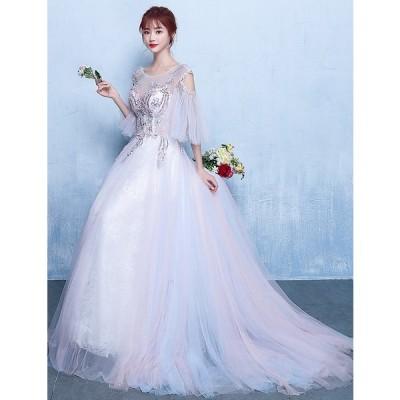 ロングドレス 結婚式 大きいサイズ パーティードレス 20代 30代 40代 パーティドレス ワンピース 二次会ドレス ウェディングドレス お呼ばれ ドレス[グレー]